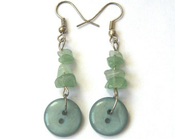 Green Earrings - Aventurine and Vintage Buttons
