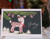 Christmas Card with Shimmering Deer