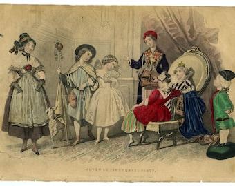 Vintage colored engraving juvenile fancy dress party ca.1860