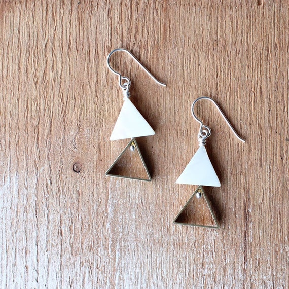 Geometric Pearl & Brass Triangle Dangle Earrings / white mother of pearl, brass charm, sterling silver / Christmas gift wrap