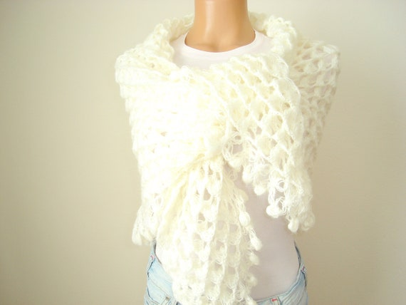 New item....Ivory mohair triangle shawl...