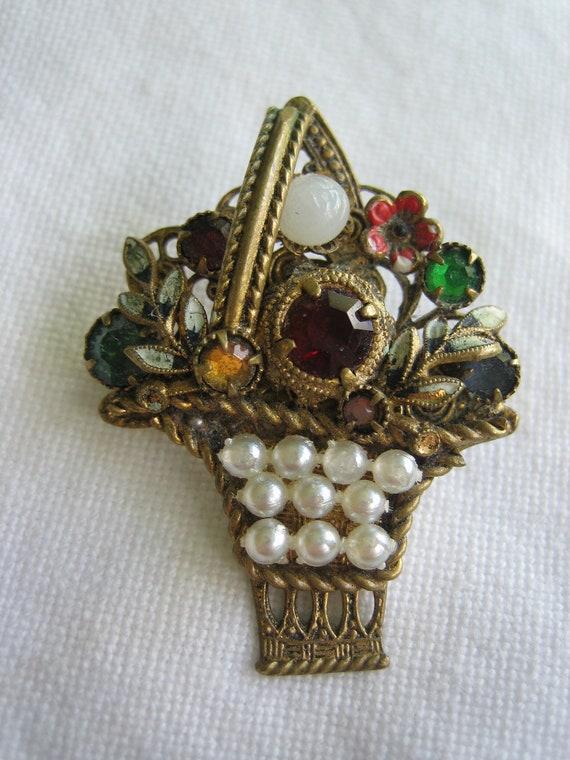 on sale---Vintage Antique Czech Jeweled Enamel Brass Flower Basket Pin Brooch-SWEET