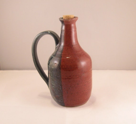 Cranberry and Blue Bottle with Handle