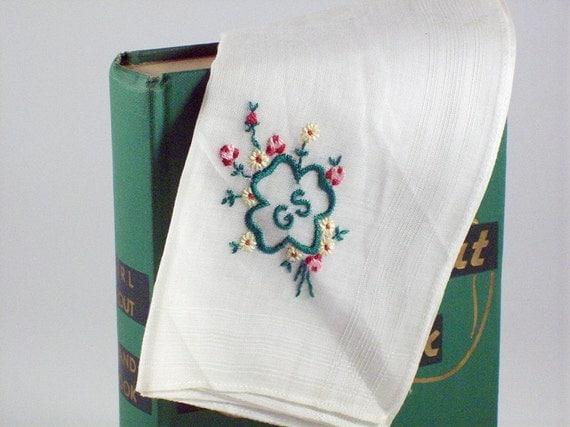 Girls Scout Handkerchief, Embroidered Girl Scout Handerkerchief
