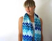 Blue Silk Scarf - Chevron Scarf - Hand Painted Silk Scarf - Summer Fashion