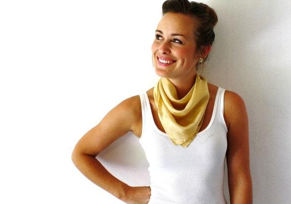 Gold Silk Scarf - Natural Dye- Hand Dyed Silk Scarf - Fall Fashion -Tan Scarf - Autumn