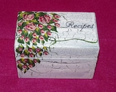 Wedding Recipe Box Personalized Recipe Card Box Hand Painted Wooden Recipe Box Red Roses