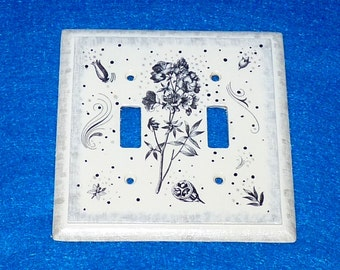 Double Light Switch Plate Hand Painted Black & White Wood Wall Cover Decorative Floral Outlet Covers