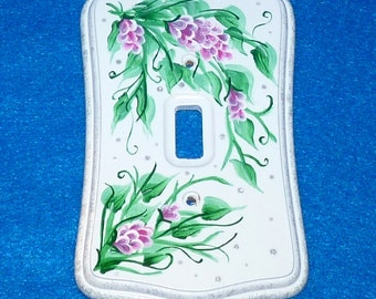 Decorative Hand Painted Light Switch Cover Shabby Chic Wood Wall Plate Pink Rose Outlet Cover Housewarming Gift