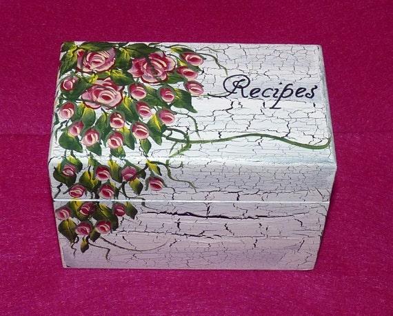 Wedding Recipe Box, Victorian Roses Recipe Card Box, Distressed Roses Recipe Box, Wood Box, Victorian, Bridesmaid Gift, Personalized Bridal