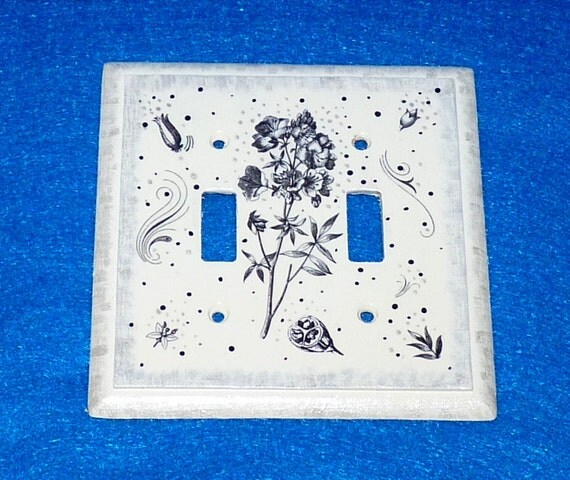 Double Light Switch Plate Hand Painted Black White Wood Wall