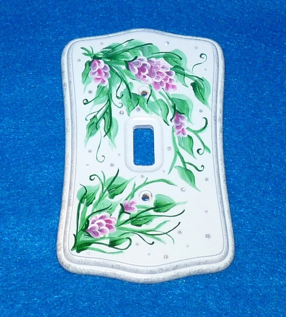 Decorative Hand Painted Light Switch Cover Shabby Chic Wood