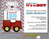 Fire Truck Baby Shower Invitations: Product No. 089 -  Fireman Baby Shower Invitations - Dalmation - 12 Printed Invitations