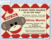 Sock Monkey Baby Shower Invitations (455) | 12 PRINTED Invitations with Envelopes
