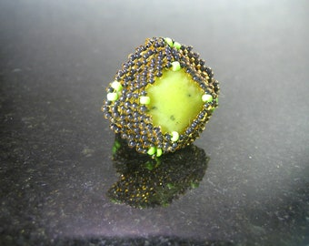 Chunky Green Jasper and brown seed bead ring