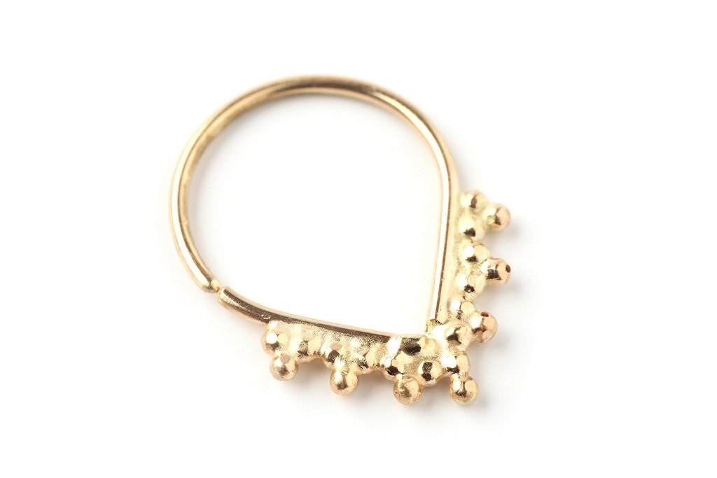 nose ring drop shaped 14k yellow solid gold nose by studiolil
