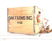 Vintage Dairy Crate Wood Crate Industrial Storage Farmhouse Decor
