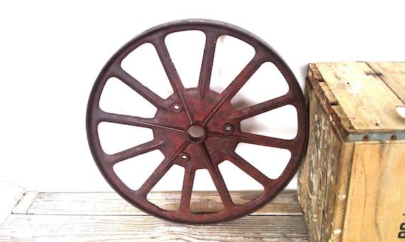 Rusty Metal Garden Art Antique Farmhouse Decor Rusty Wheel