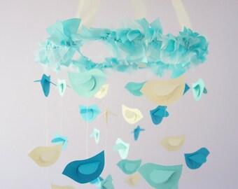 Aqua Nursery Mobile- Birds in Aqua, Ivory, & Turquoise- Nursery Decor, Baby Shower Gift