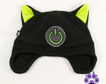 Pawstar Game ON Power kitty cat hat  gamer geek fleece cosplay anime goth cyber xbox  furry ski ear flap warm Red Purple Hot Pink Blue 1230