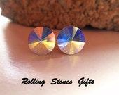 8.4mm Aurore Boreale Swarovski Rivoli Rhinestone Stud Earrings-ab Crystal Studs-Color Changing Crystal Studs-Small Rhinestone Rivoli Studs-