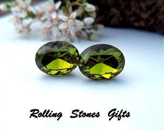 Olive Green 10x8mm Swarovski Oval Rhinestone Stud Earrings-Olive Crystal Oval Studs-Green Stud Earrings-Surgical Steel Studs-Oval Studs