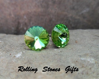 Peridot 8.4mm Swarovski Rivoli Rhinestone Stud Earrings-Peridot Crystal Studs-August Crystal Earrings-Green Rivoli Studs