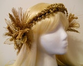 Gold Flower Crown, Head Wreath, 1920s, Art Deco Headband Art Nouveau Flapper Greek Roman, Halo Angel Miss Fisher Golden Leaf Fall Autumn