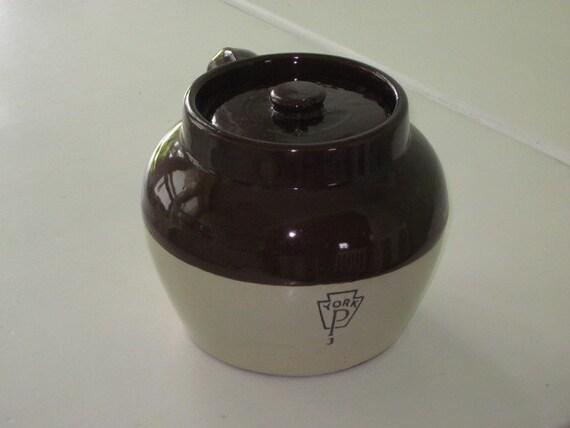 Vintage Brown and Tan Stoneware BEAN POT Crock York Pa 3 Primitive Collectible