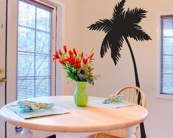 Leaning Palm Tree - Tropical - Vinyl Wall Decal Sticker