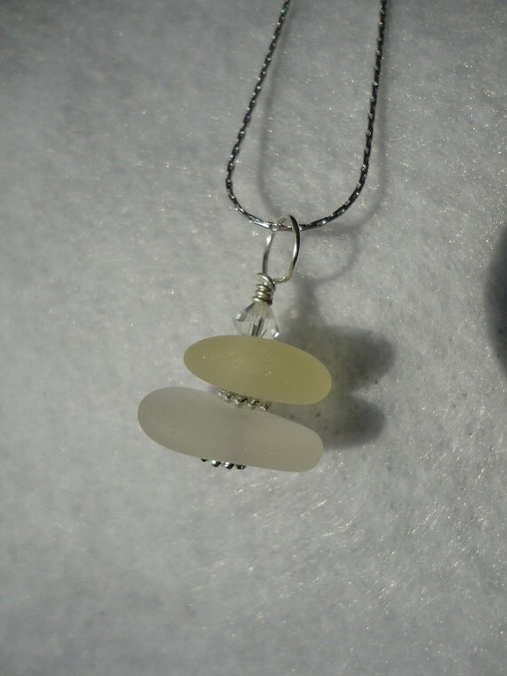 Drilled and stacked yellow and white sea glass necklace with sterling silver beads and Swarovski crystal bead