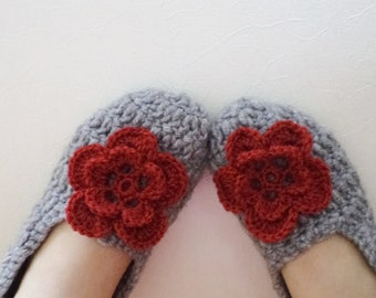 Slippers  Handmade Socks Slipper Shoes Teens Gifts Wool Grey Crochet Socks Slippers Simply Socks Women slippers house shoes