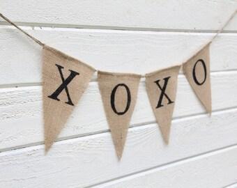 Valentines day XOXO Burlap Banner - wedding banner - wedding garland
