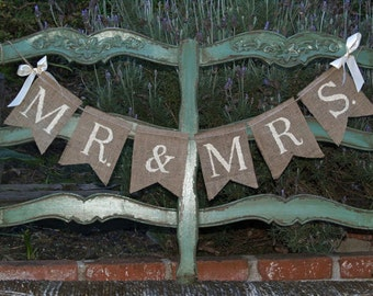 Mr. & Mrs. burlap wedding garland - Wedding garland - Photography prop