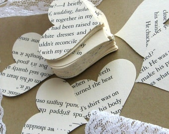 Large heart confetti - 500 - repurposed book - heart die cuts - recycled book