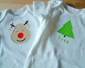 CLEARANCE: REINDEER and TREE Christmas Gift Set - 2 Bodysuits - Short Sleeve, Baby Girl or Boy - Available in size 6 M