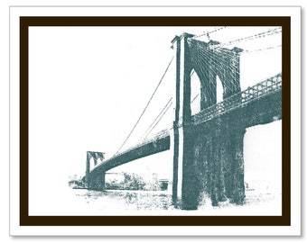 Brooklyn Bridge Note Card. Vintage Design. Blank Inside. New York City. Handmade.