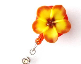 Carmel Yellow - Retractable Badge Holders - Flower Badge Reel - Designer ID Badges - Nurse Gifts - Pretty Name Badge Clips - BadgeBlooms