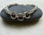 Purple Pearl and Silver Chainmaille Bracelet -- Mobius and Byzantine Weaves -- Handmade Jewelry
