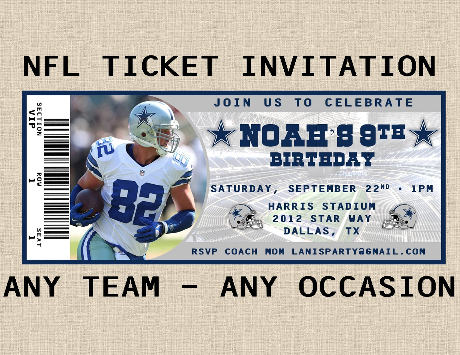 nfl ticket invitation any team any occasion by maryspartydesigns. Black Bedroom Furniture Sets. Home Design Ideas