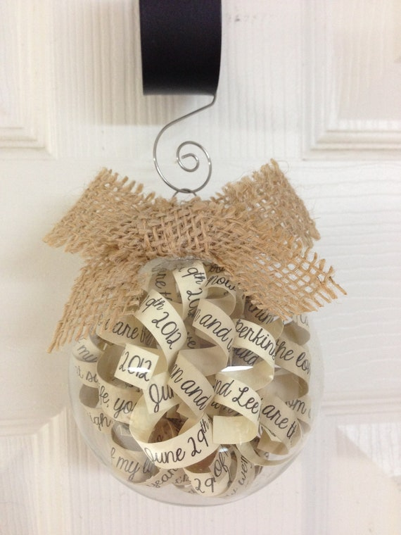 Rustic Ornament, Shabby Chic Customized First Anniversay Paper Gift, Glass Ornament.. Perfect gift for Couples