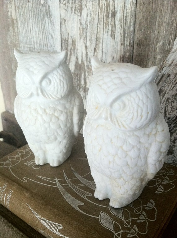Vintage White Owl Salt and Pepper Shakers