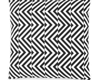 Decorative Throw Cushion Cover - Black and White Chevron - Designer Cushion Cover 16 x 16 inches