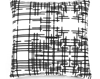 Designer Cushion Cover 16 x 16 inches - Decorative Throw Cushion Cover - Black and White