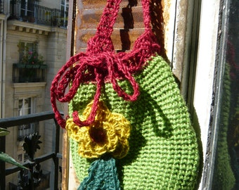 SALES,handmade crocheted jute twine bag,tote, colourful,yellow,green,red,with a flower and a leaf,Chiaia pattern