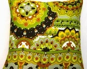 "Vintage 70's design 18"" pillow cover with border print. Acid green orange yellow  brown and black - hippie moroccan OOAK"