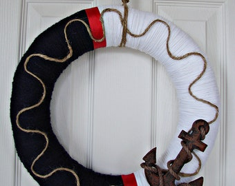 Nautical wreath white and navy with red ribbon