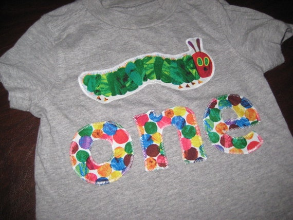 First Birthday Shirt - READY TO SHIP - Hungry Caterpillar - 12 month size