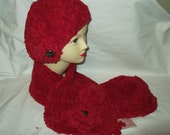 hat and scarf, chenille, red. free shipping, very warm and stylish