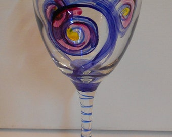 """Handpainted Wine Glass """"Complimentary"""" by C.C. Pruitt"""